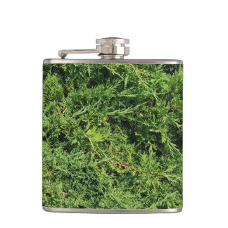 Thuja tree photo background hip flask