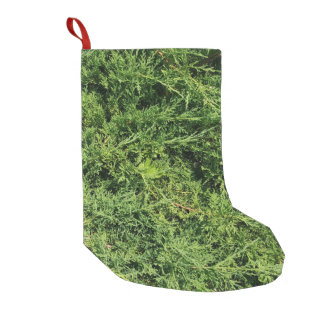 Thuja tree photo background small christmas stocking