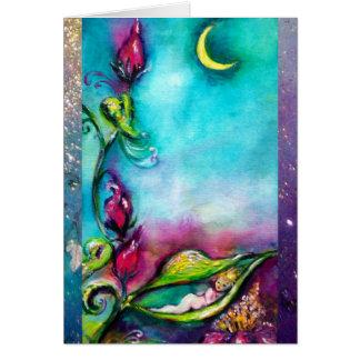 THUMBELINA SLEEPING IN THE MOONLIGHT /ROSE BASKET CARD