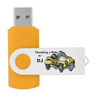 Thumbing a Ride in a Taxi (Personalized) USB Flash Drive