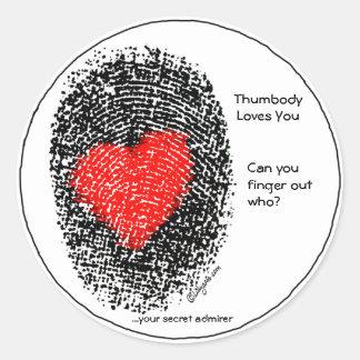 Thumbody Loves You Heart Fingerprint Sticker