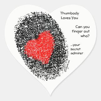 Thumbody Loves You Heart Shape Fingerprint Sticker