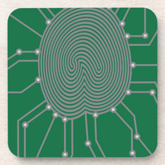 Thumbprint with Circuit Board Illustration Coaster