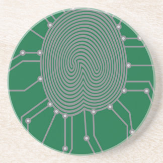 Thumbprint with Circuit Board Illustration Drink Coaster