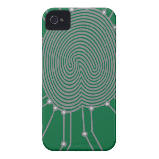 Thumbprint with Circuit Board Illustration iPhone 4 Cases