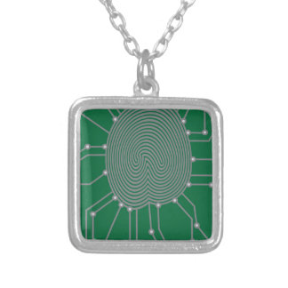 Thumbprint with Circuit Board Illustration Silver Plated Necklace