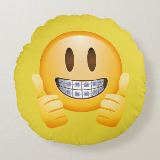 thumbs braces emoji  girl with braces round pillow