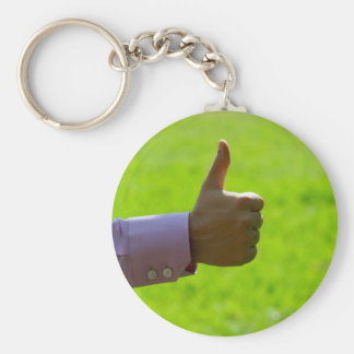 Thumbs Up Basic Round Button Keychain