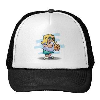 thumbs up basketball girl cartoon graphic trucker hat