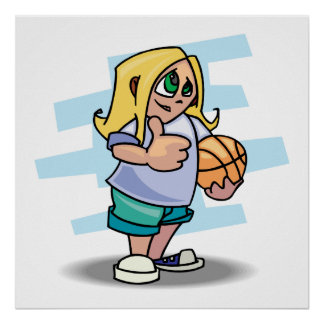 thumbs up basketball girl cartoon graphic poster