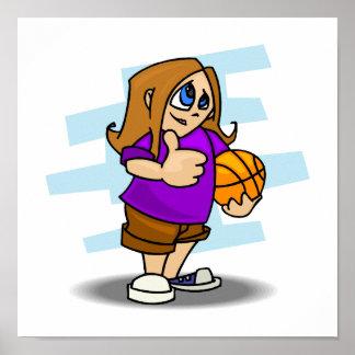 thumbs up basketball girl poster