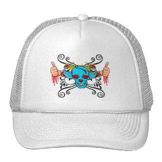 Thumbs Up (Blue Skull) Trucker Hat
