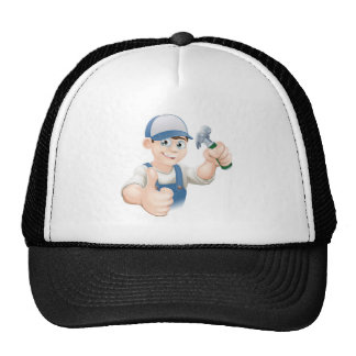 Thumbs up carpenter or builder mesh hat
