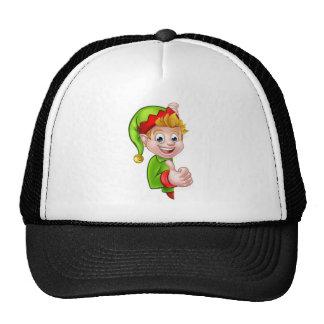 Thumbs Up Christmas Elf Cartoon Character Trucker Hat