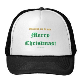 thumbs up christmas trucker hat