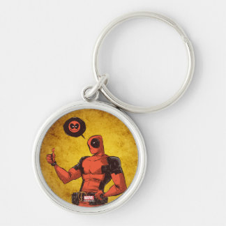 Thumbs Up Deadpool With Emote Silver-Colored Round Keychain