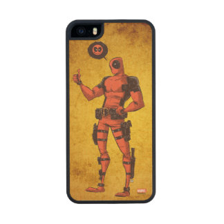 Thumbs Up Deadpool With Emote Wood iPhone SE/5/5s Case