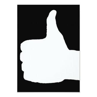 "Thumbs Up Gesture, Black Back 5"" X 7"" Invitation Card"