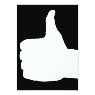 Thumbs Up Gesture, Black Back 5x7 Paper Invitation Card