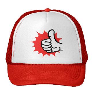 thumbs-up mesh hats