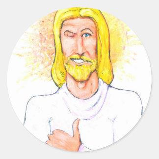 Thumbs up Jesus Classic Round Sticker