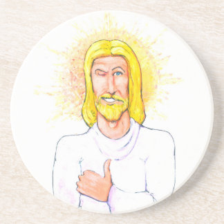 Thumbs up Jesus Coaster