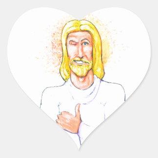 Thumbs up Jesus Heart Sticker