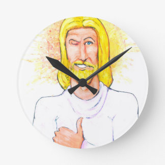Thumbs up Jesus Round Clock