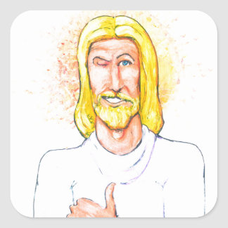Thumbs up Jesus Square Sticker