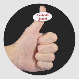 Thumbs Up on black Classic Round Sticker