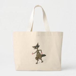 Thumbs Up Raccoon Large Tote Bag