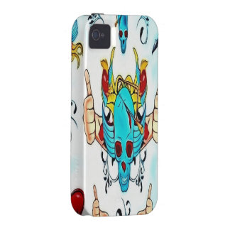 Thumbs up Skull with Birds iPhone 4 Case/Tough