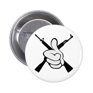 Thumbs Up W Crossed Rifles 2 Inch Round Button