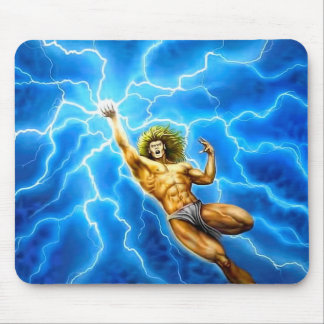 THUNDER GOD Mythology Blue Lightning Zeus Thor Mouse Pad