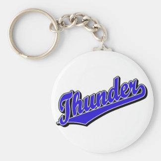 Thunder in Blue Basic Round Button Keychain