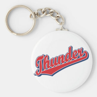 Thunder in Red and Blue Basic Round Button Keychain