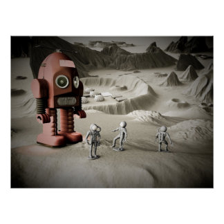 Thunder Robot and Toy Spacemen Retro Styled Print