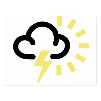 Thunder Storm: Retro weather forecast symbol Postcard
