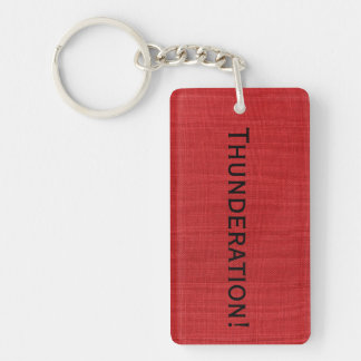 Thunderation! bold black text on Red Linen Photo Double-Sided Rectangular Acrylic Keychain