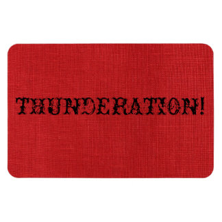 THUNDERATION! fancy black text on Red Linen Photo Magnet