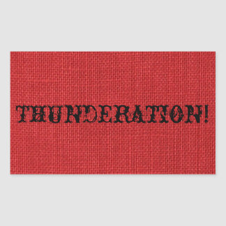 THUNDERATION! fancy black text on Red Linen Photo Sticker