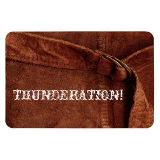 THUNDERATION! fancy white text, Brown Suede Photo Rectangular Photo Magnet