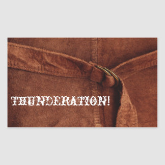 THUNDERATION! old-timey white font on Suede Photo Sticker