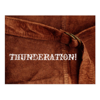 THUNDERATION! old-timey white text on Suede Photo Postcard