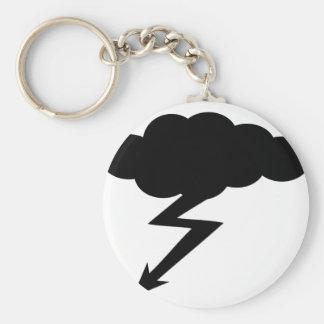 thunderstorm lightning basic round button keychain