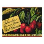 Thurber Cherries, Vintage Fruit Crate Label Art Post Cards