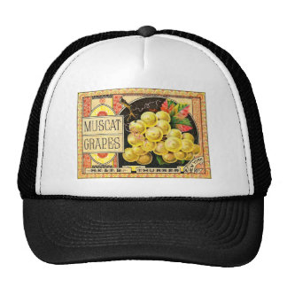 Thurber Muscat Grapes - Vintage Crate Label Mesh Hats