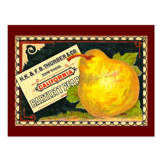 Thurber Pears Vintage Crate Label Postcard