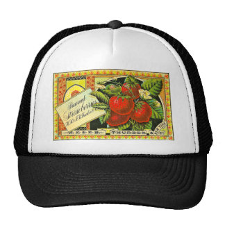 Thurber Strawberries Vintage Crate Label Trucker Hat