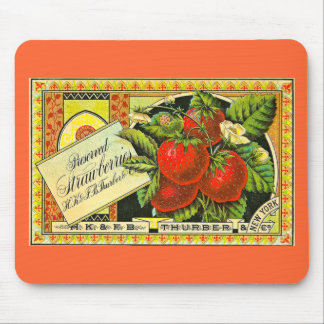 Thurber Strawberries Vintage Crate Label Mouse Pad